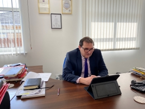 Robert Clark of Newstead Clark Financial Services Limited conducting meetings over Skype and FaceTime Photograph 1
