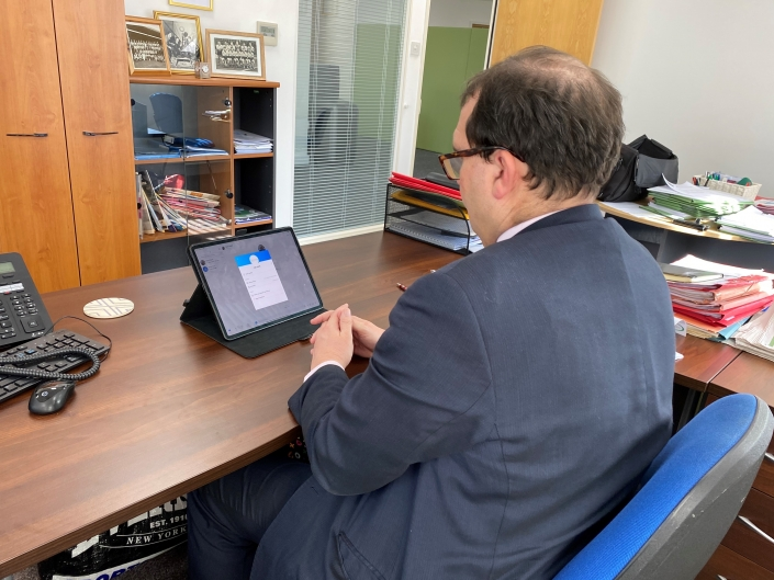 Robert Clark of Newstead Clark Financial Services Limited conducting meetings over Skype and FaceTime Photograph 6